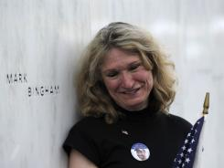 Alice Holgand stands at the inscription of her son Mark Bingham's name on the Flight 93 Memorial wall following the Sept. 10 dedication ceremony in Shanksville, Pa.