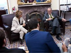 Sen. Barbara Boxer, D-Ca, and Sen. Charles Schumer, D-NY, talk with reporters regarding attempts to avert a shutdown of the FAA.