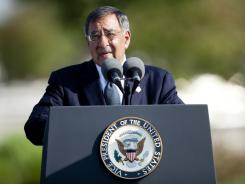 Secretary of Defense Leon E. Panetta speaks at a memorial service at the Pentagon on Sunday.