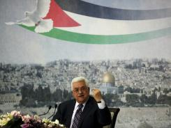 Palestinian President Mahmoud Abbas speaks in the West Bank city of Ramallah, Sept. 16.