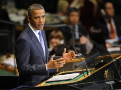 President Obama addresses the U.N. General Assembly on Sept. 23. He spoke of hopes for a peace agreement between the Israelis and the Palestinians.