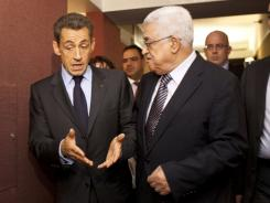 Palestinian President Mahmoud Abbas, right, meets with French President Nicolas Sarkozy on Tuesday in New York City.