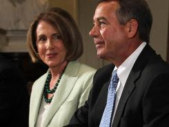 Capitol fighters: House Minority Leader Nancy Pelosi and House Speaker John Boehner.