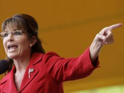 Former vice presidential candidate Sarah Palin addresses a Tea Partly Express Rally Sept. 5 in Manchester, N.H.