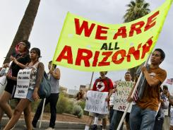 Marchers from the Los Angeles area join a protest against the Arizona immigration law  in July 2010 at the Capitol in Phoenix.
