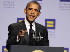 President Obama delivers remarks at the Human Rights Campaign National Dinner in Washington on Oct. 1.