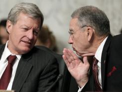 Sen. Max Baucus, D-Mont., left, and Sen. Chuck Grassley, R-Iowa, are members of the Senate Finance Committee, which released a report on the Medicare system.