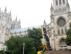 A construction crane used to help repair the Washington National Cathedral toppled Sept. 7. The accident caused more damage.