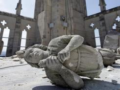 A carved angel lies shattered on the roof of Washington National Cathedral after an earthquake Aug. 23.