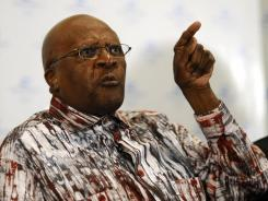Desmond Tutu expresses his anger at the African National Congress' reluctance to issue a visa to the Dalai Lama.