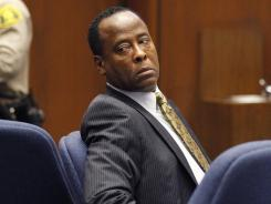 Dr. Conrad Murray looks toward the gallery during his trial in the death of pop star Michael Jackson in Los Angeles on Wednesday.