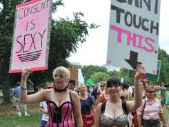 Women take part in the D.C. Slutwalk against sexual violence on August 13.
