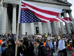 'Occupy Wall Street' protesters and union members stage a protest near Wall Street in New York,  Oct. 5.