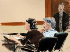 In this courtroom sketch, defense attorney Sabrina Shroff and defendant Manssor Arbabsiar sit before Judge Michael Dolinger for the arraignment of Arbabsiar on Tuesday.