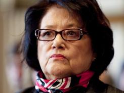 Elouise Cobell watches a Senate Indian Affairs Committee hearing on the multibillion-dollar Cobell v. Salazar lawsuit regarding decades of mismanagement of Indian lands in 2009.