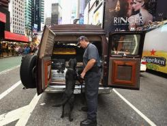 A New York Police Department Bomb Squad detective and an explosive-detector dog inspect an unattended vehicle found near Times Square in September.