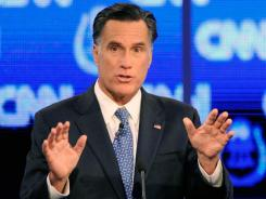 Tuesday night debate:  Former Massachusetts governor Mitt Romney in Las Vegas.