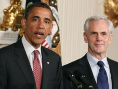President Obama stands with John Bryson, after nominating him for Commerce Secretary last May.