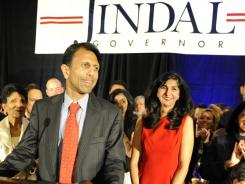 Louisiana Gov. Bobby Jindal delivers his victory speech.