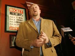 "Samuel ""Joe"" Wurzelbacher talks to the media about running for Congress Tuesday at Tony Packo's in Toledo, Ohio."
