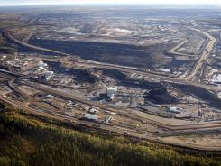 Aerial photo of a tar sands mine facility in Alberta, Canada.