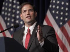 Sen. Marco Rubio, R-Fla., speaks at the Ronald Reagan Presidential Library in Simi Valley, Calif.,  Aug. 23, 2011.