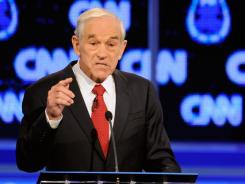 Rep. Ron Paul (R-Texas) during the Republican presidential debate Oct. 18 in Las Vegas.