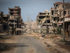 Buildings were ravaged by fighting in Sirte, Libya.