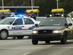 Greenville, S.C., police officers close down a street Oct. 28.