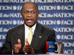 In this photo provided by CBS News, Republican presidential candidate Herman Cain appears on 'Face the Nation' in Washington on Sunday.