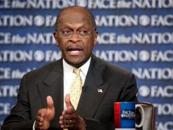Republican presidential candidate Herman Cain appears on CBS's 'Face the Nation' in Washington on Sunday.