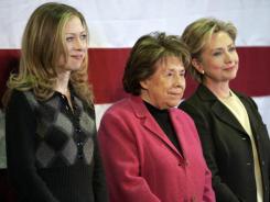 Democratic presidential hopeful Hillary Clinton, right, her mother Dorothy Rodham, center, and her daughter, Chelsea Clinton, campaign Jan. 2, 2008, in Indianola, Iowa.
