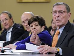From left, Erskine Bowles, Alan Simpson,  Alice Rivlin  and Pete Domenici testify Tuesday on Capitol Hill.