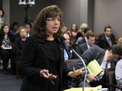 Karen Getman, an attorney representing Assemblyman Jose Solorio, D-Santa Ana, appeals to the California Fair Political Practices Commission to temporarily relax financial reporting rules and waive some contribution limits for Solorio, as he seeks to recover from an alleged embezzlement scheme by a former campaign treasurer, during a meeting in Sacramento, Calif., Friday, Sept. 30, 2011. Federal prosecutors charged Democratic treasurer Kinde Durkee earlier this month with mail fraud and said she siphoned $700,000 from the campaign accounts of Solorio and others including U.S. Sen. Dianne Feinstein.