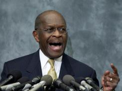 Republican presidential hopeful Herman Cain speaks at the Congressional Health Caucus Thought Leaders Series on Wednesday in Washington.