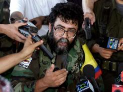 Alfonso Cano, a leader of the Revolutionary Armed Forces of Colombia (FARC), speaking to the press in Colombia in February.
