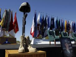 A soldier's memorial is seen Nov. 5, 2010, during a ceremony marking the one-year anniversary of the shooting at Fort Hood, Texas.