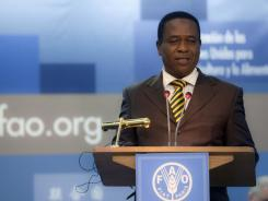 Republic of Equatorial Guinea President Teodoro Nguema Obiang Mbasogo addresses delegates at the FAO headquarters during the World Food Day in Rome on Oct. 17.