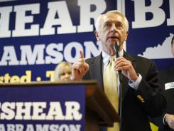 Kentucky Gov. Steve Beshear speaks during a Democratic Party rally Friday in Bowling Green, Ky.