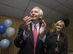Kentucky Gov. Steve Beshear and his wife, Jane, attend a rally Monday at Louisville's American Legion Hall.