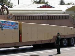 A Shahab 3 missile is seen during a military parade in Tehran in this 2007 photo.