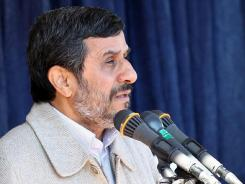 A picture released by the official website of Iranian President Mahmoud Ahmadinejad's office shows him speaking in the city of Shahrekord at the start of his tour of Iran's Chaharmahal and Bakhtiari southwestern province on Wednesday.