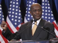 """""""Allegations are false"""": GOP candidate Hermain Cain says Tuesday in Scottsdale, Ariz."""