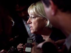 Senator Patty Murray, D-Wash., speaks to reporters on Thursday.