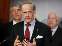 U.S .Sen. Tom Carper, D-Del., speaks during a news conference on Feb. 8.