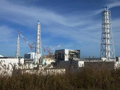A view of the crippled Fukushima Dai-ichi nuclear power plant in Okuma.