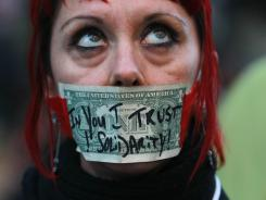 """Occupier"": Valerie Sowers protests in Oakland last month."