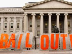 Occupy Washington D.C. demonstrators stop outside the Treasury Department on Nov. 10.