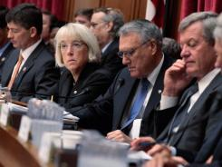 """Supercommittee"": From left, Rep. Jeb Hensarling, R-Texas, Sen. Patty Murray, D-Wash., Sen. Jon Kyl, R-Ariz., and Sen. Max Baucus, D-Mont., are among the members of the bipartisan debt panel."