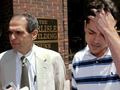 "Mitchell Garabedian, left, represents Patrick McSorley in a 2002 clergy abuse case in Boston. Garabedian called on Penn State officials to ""free victims' souls,"" as the Catholic Church did by releasing victims from confidentiality agreements."